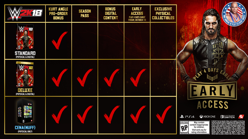 Here S What You Get For Pre Ordering Wwe 2k18 2k Support