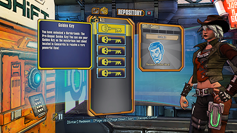 Retrieving Redeemed Golden Keys in Borderlands: The Pre